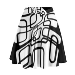 White Abstraction High Waist Skirt