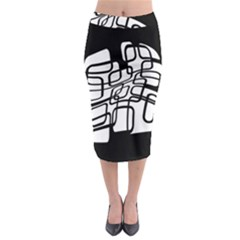 White Abstraction Midi Pencil Skirt