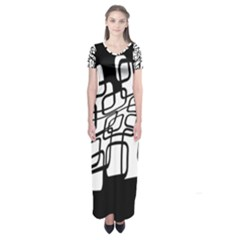White Abstraction Short Sleeve Maxi Dress