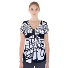 White Abstraction Short Sleeve Front Detail Top