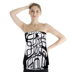 White Abstraction Strapless Top