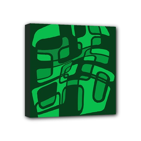 Green abstraction Mini Canvas 4  x 4