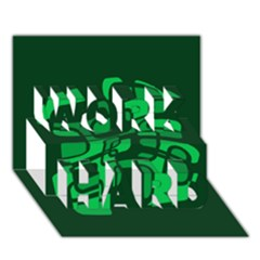 Green abstraction WORK HARD 3D Greeting Card (7x5)