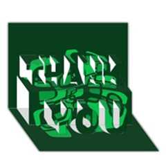 Green abstraction THANK YOU 3D Greeting Card (7x5)