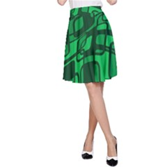 Green abstraction A-Line Skirt