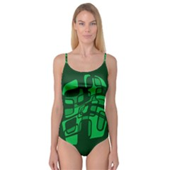 Green abstraction Camisole Leotard
