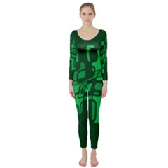 Green abstraction Long Sleeve Catsuit