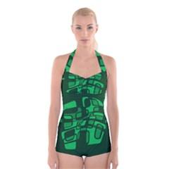Green abstraction Boyleg Halter Swimsuit