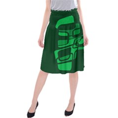 Green Abstraction Midi Beach Skirt