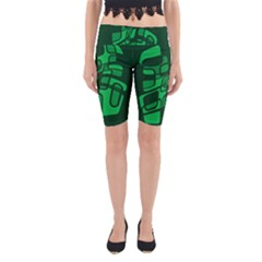 Green Abstraction Yoga Cropped Leggings