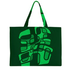 Green abstraction Zipper Large Tote Bag