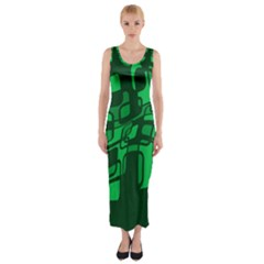 Green abstraction Fitted Maxi Dress