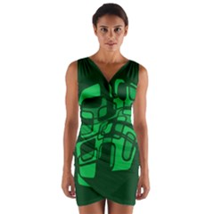 Green abstraction Wrap Front Bodycon Dress