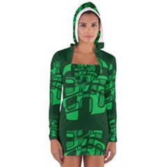 Green abstraction Women s Long Sleeve Hooded T-shirt