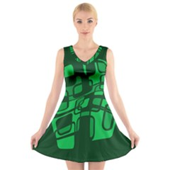Green abstraction V-Neck Sleeveless Skater Dress