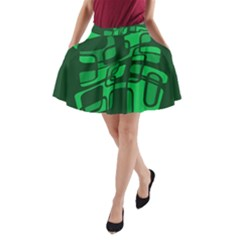Green Abstraction A Line Pocket Skirt
