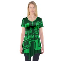 Green abstraction Short Sleeve Tunic