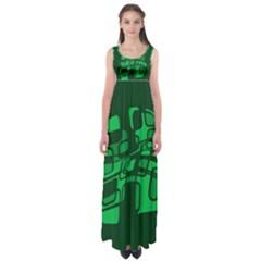 Green Abstraction Empire Waist Maxi Dress