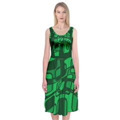 Green Abstraction Midi Sleeveless Dress