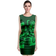Green Abstraction Classic Sleeveless Midi Dress