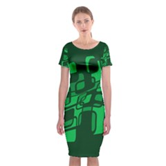 Green Abstraction Classic Short Sleeve Midi Dress
