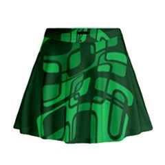 Green abstraction Mini Flare Skirt