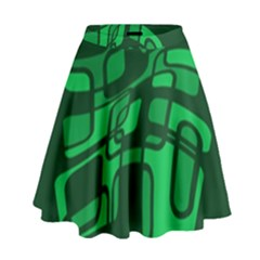 Green Abstraction High Waist Skirt