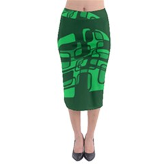Green Abstraction Midi Pencil Skirt