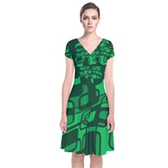 Green Abstraction Short Sleeve Front Wrap Dress