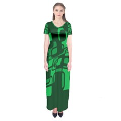 Green Abstraction Short Sleeve Maxi Dress