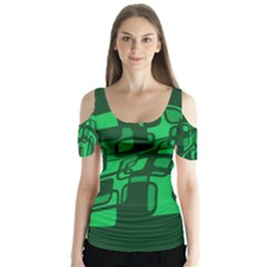 Green Abstraction Butterfly Sleeve Cutout Tee