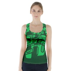 Green Abstraction Racer Back Sports Top