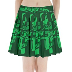 Green Abstraction Pleated Mini Mesh Skirt