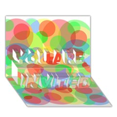 Colorful circles YOU ARE INVITED 3D Greeting Card (7x5)