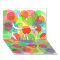 Colorful circles Clover 3D Greeting Card (7x5)