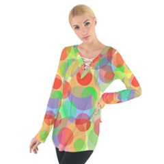 Colorful circles Women s Tie Up Tee