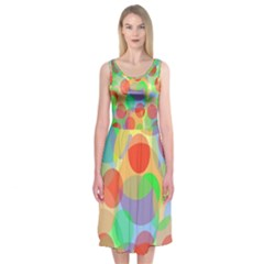 Colorful Circles Midi Sleeveless Dress