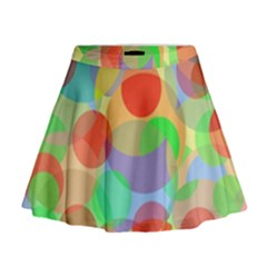 Colorful Circles Mini Flare Skirt