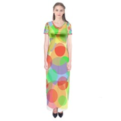 Colorful Circles Short Sleeve Maxi Dress