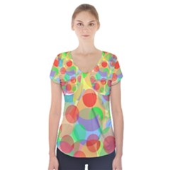 Colorful Circles Short Sleeve Front Detail Top