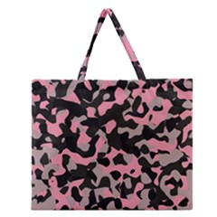 Kitty Camo Zipper Large Tote Bag