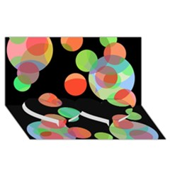 Colorful circles Twin Heart Bottom 3D Greeting Card (8x4)
