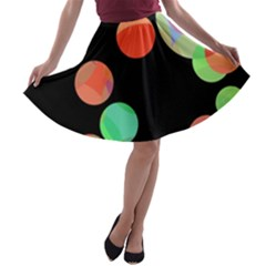 Colorful circles A-line Skater Skirt