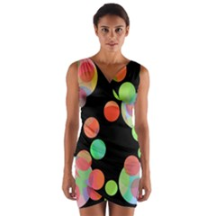 Colorful circles Wrap Front Bodycon Dress