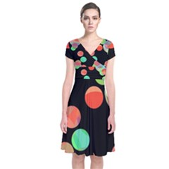 Colorful Circles Short Sleeve Front Wrap Dress