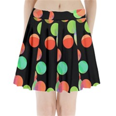 Colorful Circles Pleated Mini Mesh Skirt