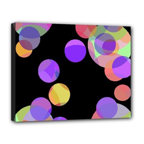 Colorful decorative circles Canvas 14  x 11