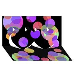 Colorful decorative circles Twin Hearts 3D Greeting Card (8x4)