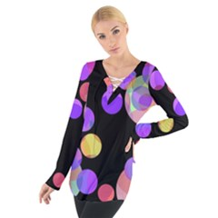 Colorful decorative circles Women s Tie Up Tee