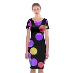 Colorful Decorative Circles Classic Short Sleeve Midi Dress